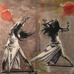 Le due lune danzanti 80x80 cm